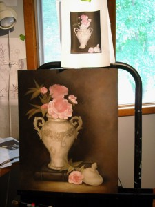 This is what is on Cathy Mayer' Easel. She is from Kansas and is a professional faux finish and mural artist.