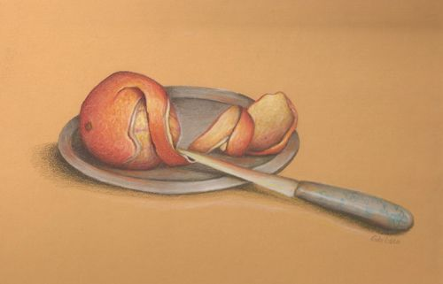 Peeled Orange in Colored Pencils