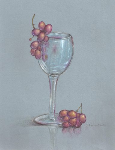 Wine Glass And Grapes In Colored Pencils