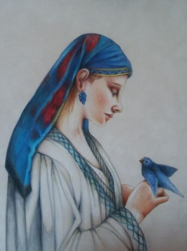 Colored Pencil Lesson - Woman with Parrot  After Frédéric Tschaggeny